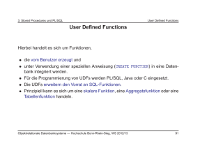 User Defined Functions