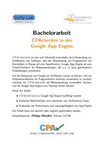f0b57de78664f9 Bachelorarbeit CPAchecker in der Google App Engine - Sosy-Lab
