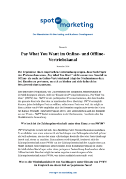 Pay What You Want im Online- und Offline