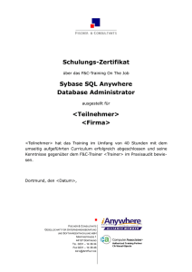 Schulungs-Zertifikat Sybase SQL Anywhere Database Administrator