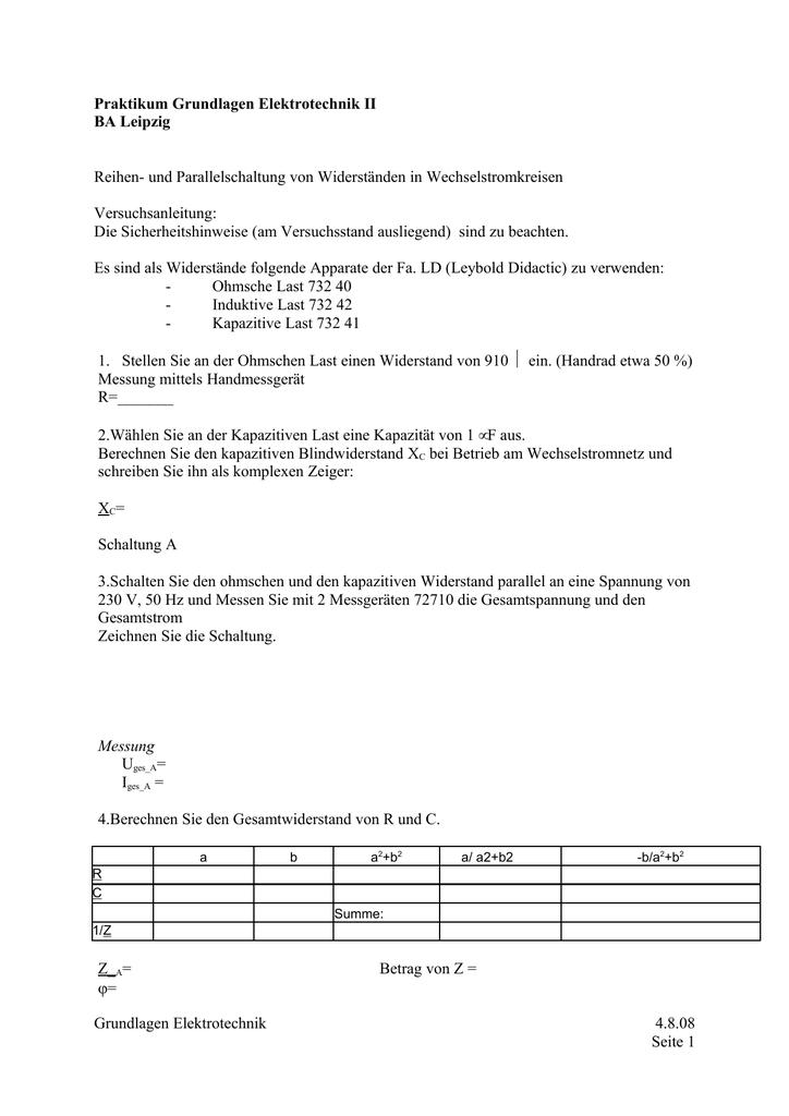 Praktikum Grundlagen Elektrotechnik II BA Leipzig Reihen