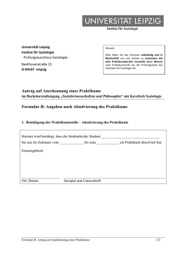 Deckblatt Praktikumsbericht