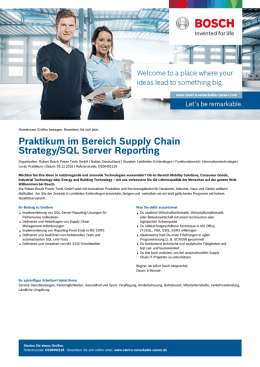 Praktikum im Bereich Supply Chain Strategy/SQL Server Reporting