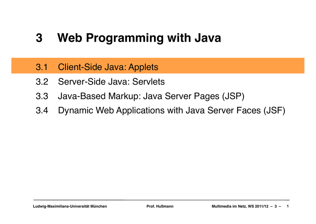 3 Web Programming with Java
