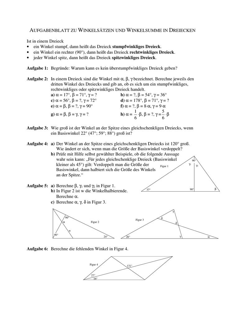 Wunderbar Dreieck Winkelsumme Arbeitsblatt Antworten Zeitgenössisch ...