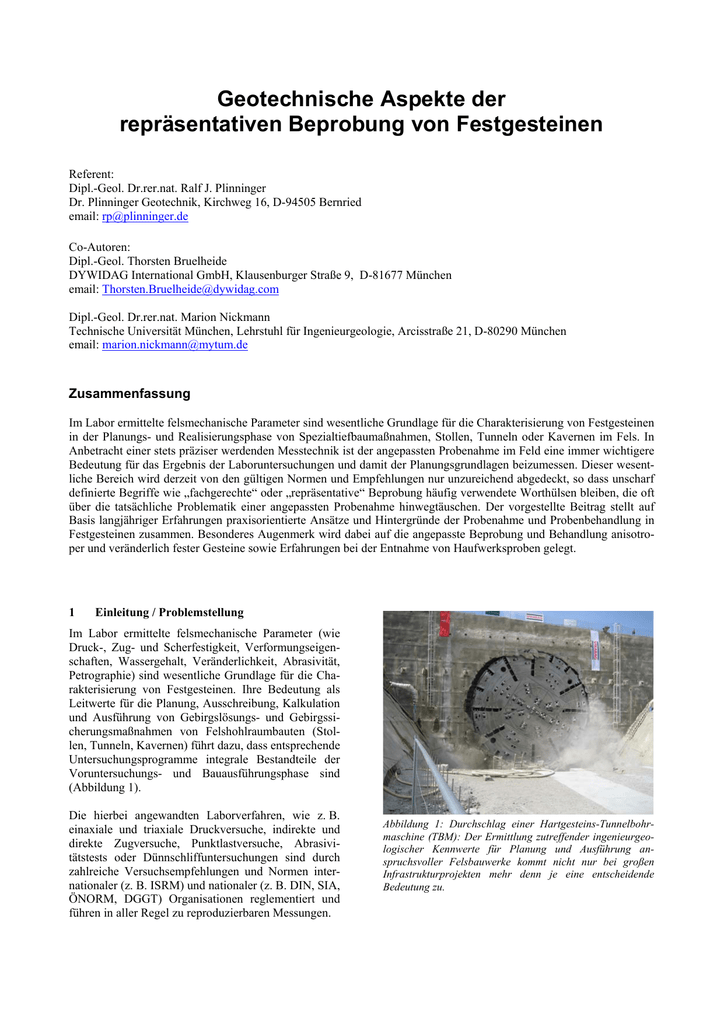 Geotechnische Aspekte der repräsentativen Beprobung von