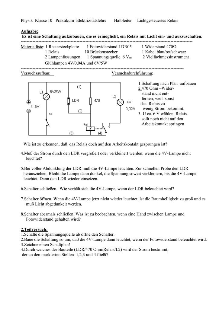 Physik Klasse 10 Praktikum Elektrizitätslehre elektromagn
