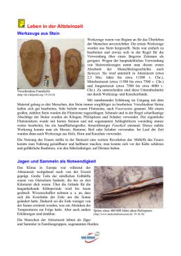 Das Leben in der Altsteinzeit, Arbeitsblatt mit Antworten