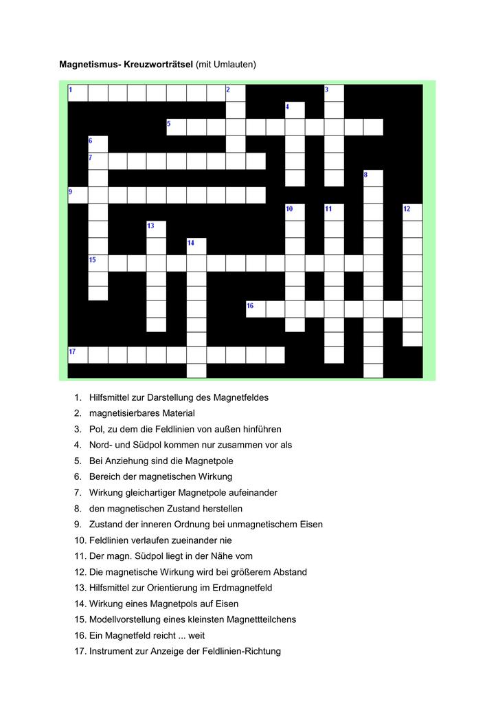 Nochmals Kreuzworträtsel