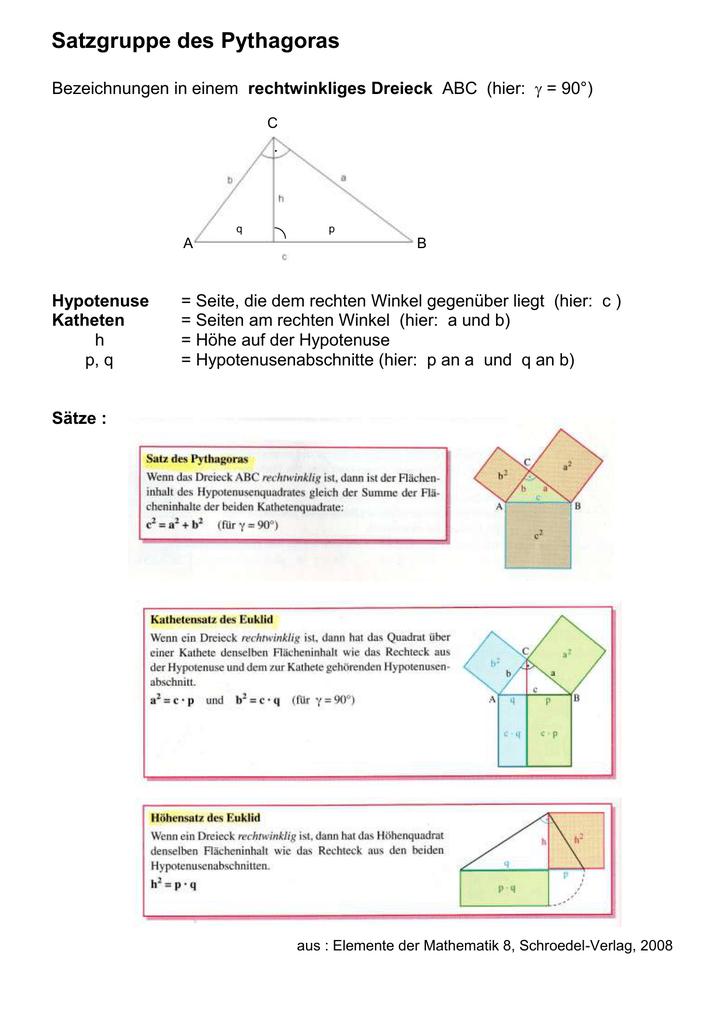 Arbeitsblatt zur Satzgruppe des Pythagoras G 9e