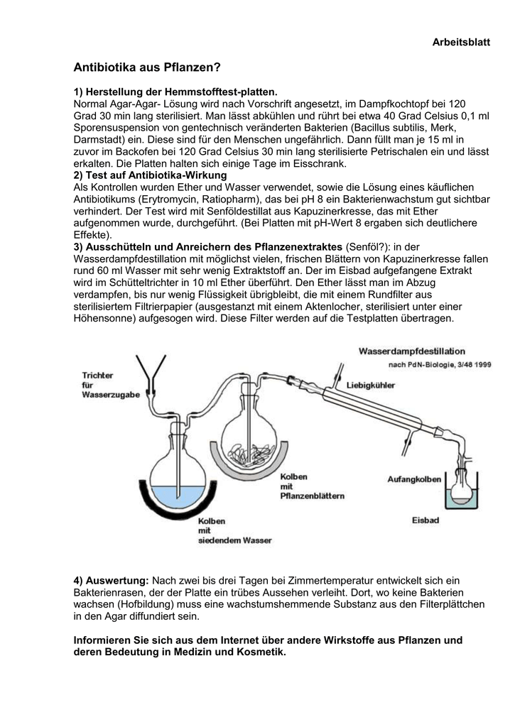 Zum Arbeitsblatt - Experimente in der Schule