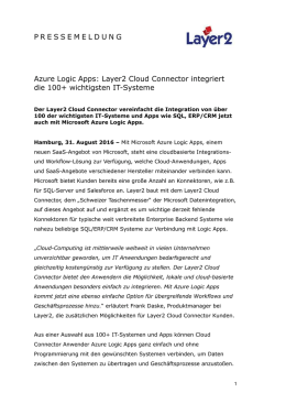 2016-09-09: Azure Logic Apps: Layer2 Cloud Connector integriert