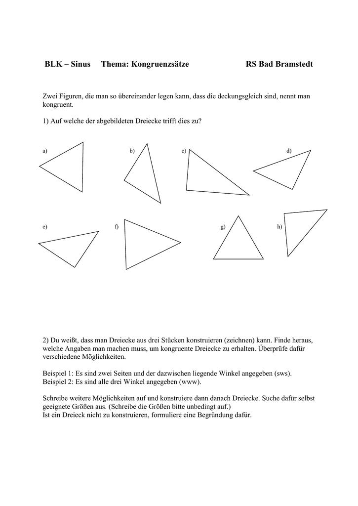 Großzügig Geometrie Arbeitsblatt Kongruente Dreiecke Ideen ...