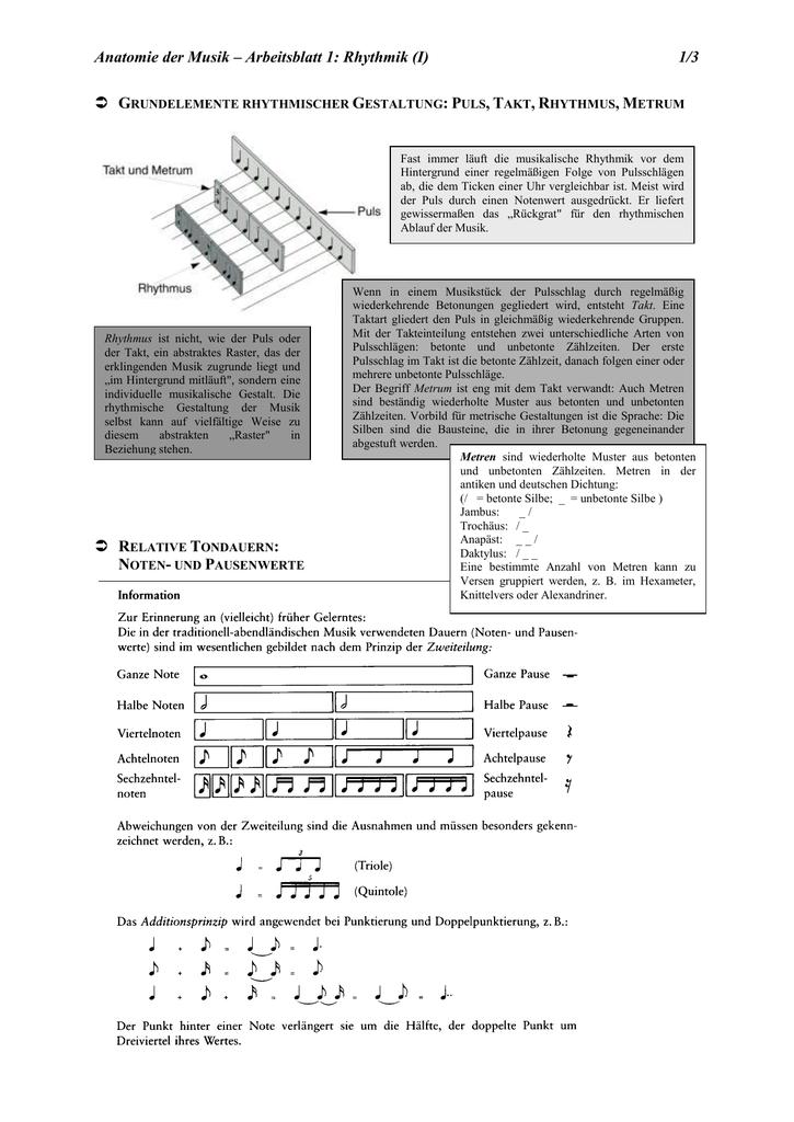 Arbeitsblatt 1 - Rhythmus erweitert