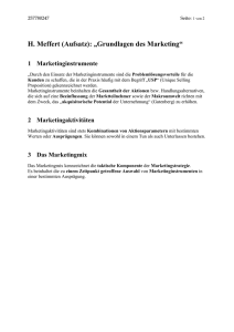 "H. Meffert (Aufsatz): ""Grundlagen des Marketing"""