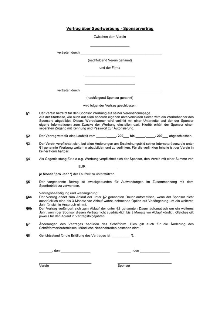 Beste Sponsoring Vereinbarung Vorlage Bilder - Dokumentationsvorlage ...