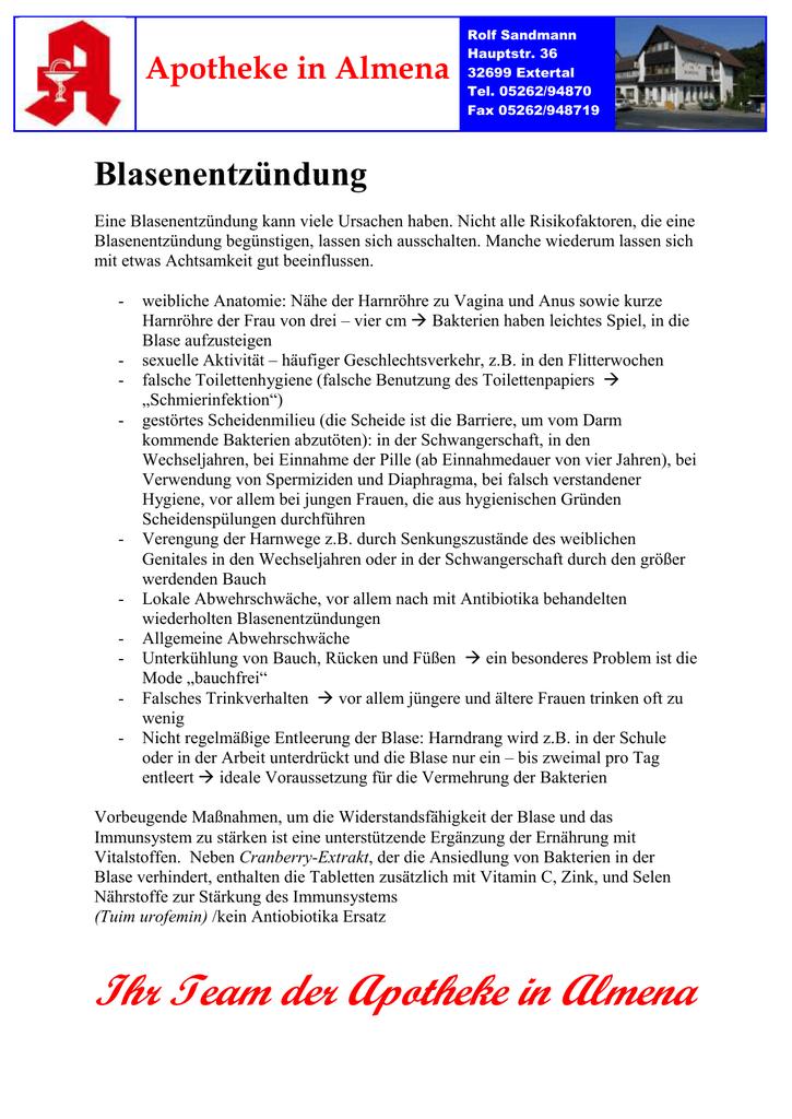 HZ Blasenentzündung - Apotheke in Almena