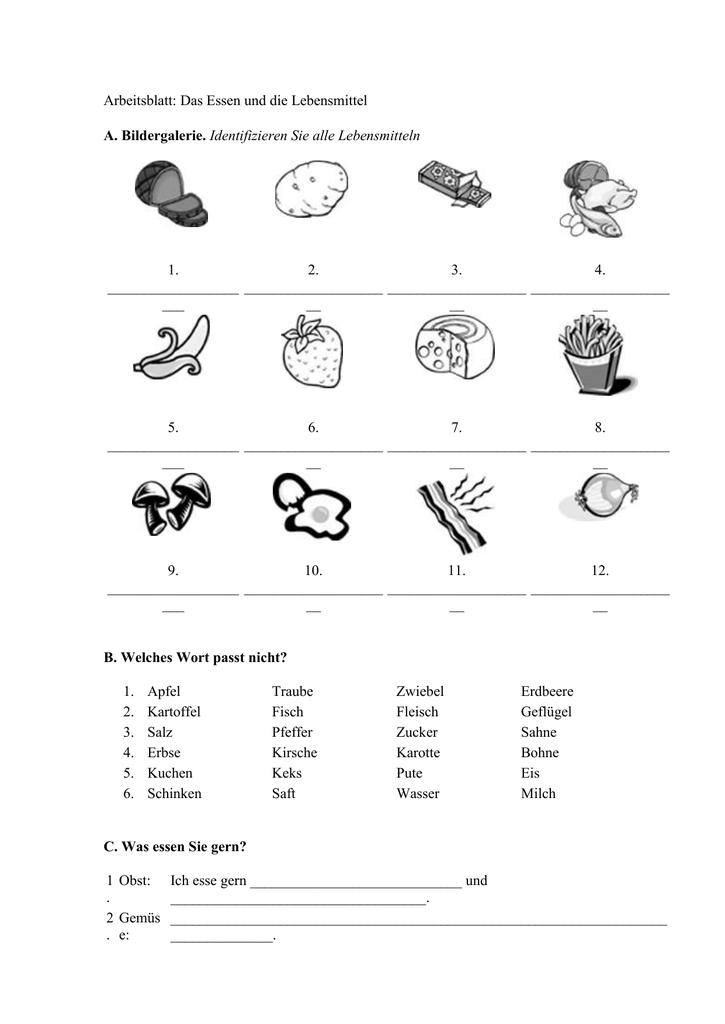 Arbeitsblatt: Das Essen und die Lebensmittel