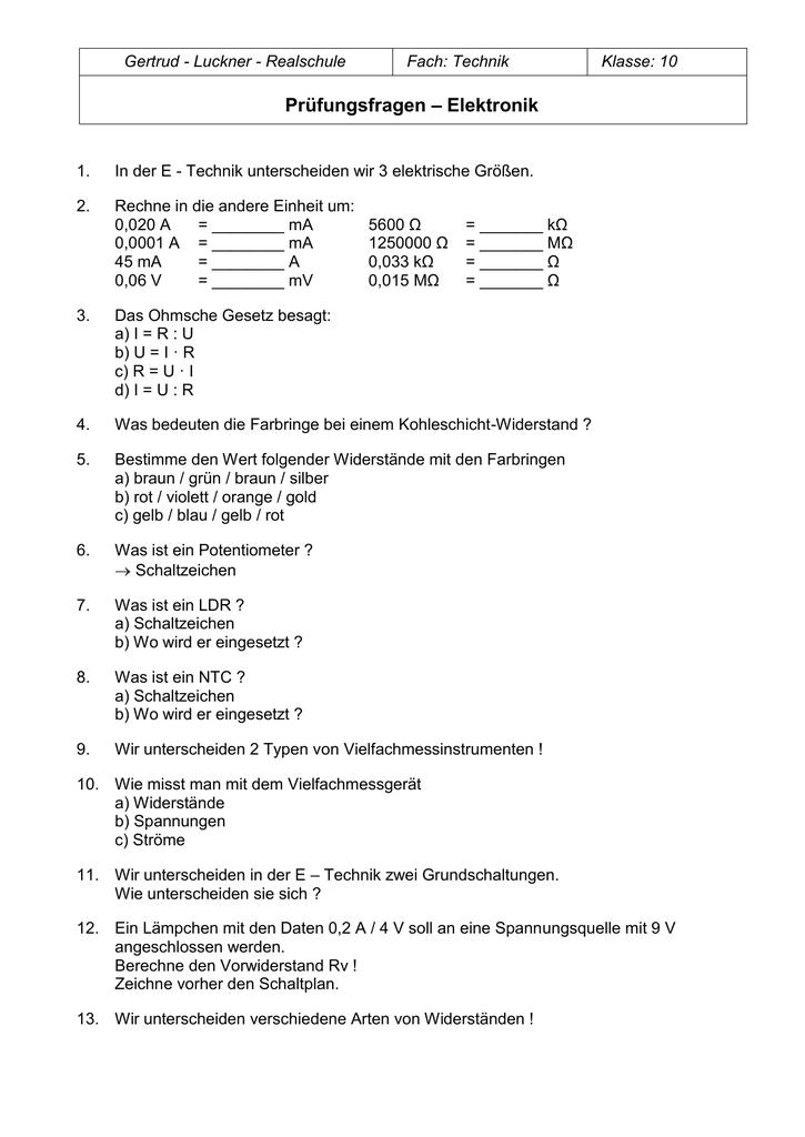 Prüfungsfragen – Elektronik