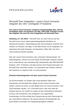 2016-07-26: Microsoft Flow Integration: Layer2 Cloud Connector