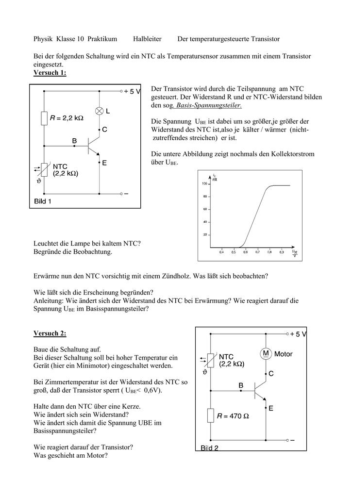 physik klasse 10 praktikum halbleiter der transistor. Black Bedroom Furniture Sets. Home Design Ideas