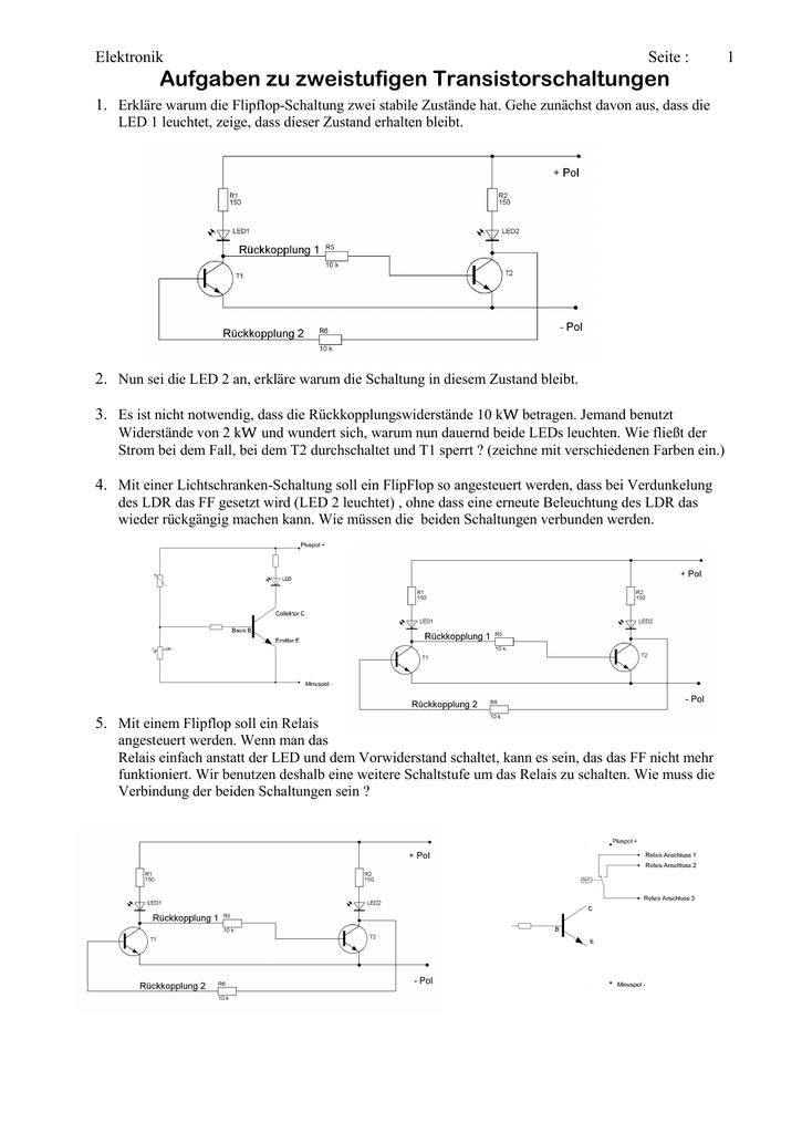 Aufgaben zu zweistufigen Transistorschaltungen