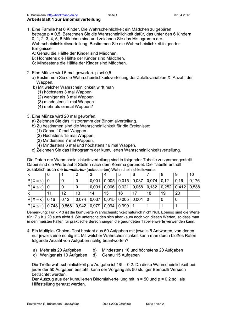 Arbeitsblatt 1 zur Binomialverteilung - klaus