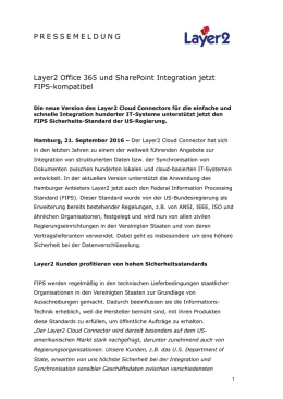 2016-09-21: Layer2 Office 365 und SharePoint Integration jetzt FIPS