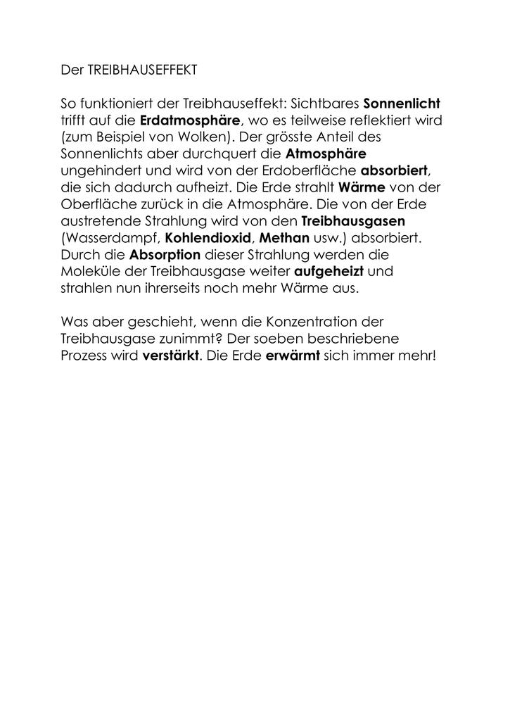 Lückentext: TREIBHAUSEFFEKT (Lösung)