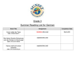 Grade 3 Summer Reading List for German Book Title Assignment