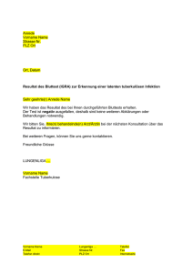 Brief Mitteilung der Resultate an Screening
