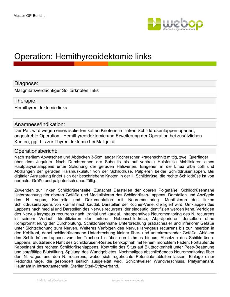 Operation Hemithyreoidektomie Links