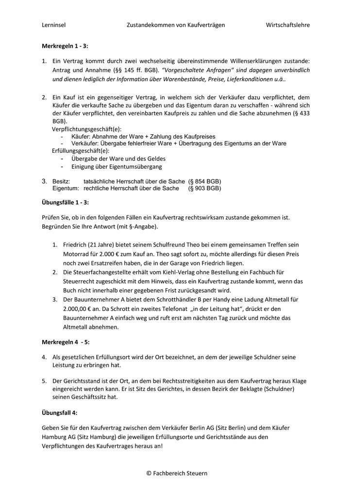 Bgb Zustandekommen Von Verträgen