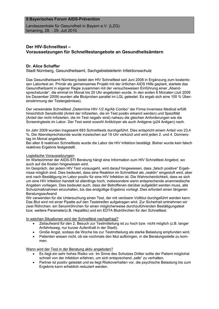 Der HIV-Test - Landeszentrale für Gesundheit in Bayern e.V.