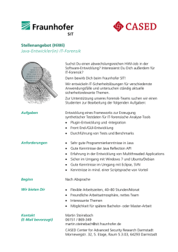 Stellenangebot (HiWi) Java-Entwickler(in) IT