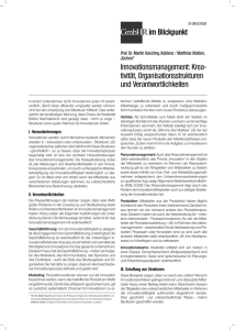 Innovationsmanagement: Krea- tivität, Organisationsstrukturen und