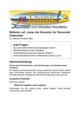 "Reflexion auf ""Jump into Education for Democratic Citizenship"" erste"