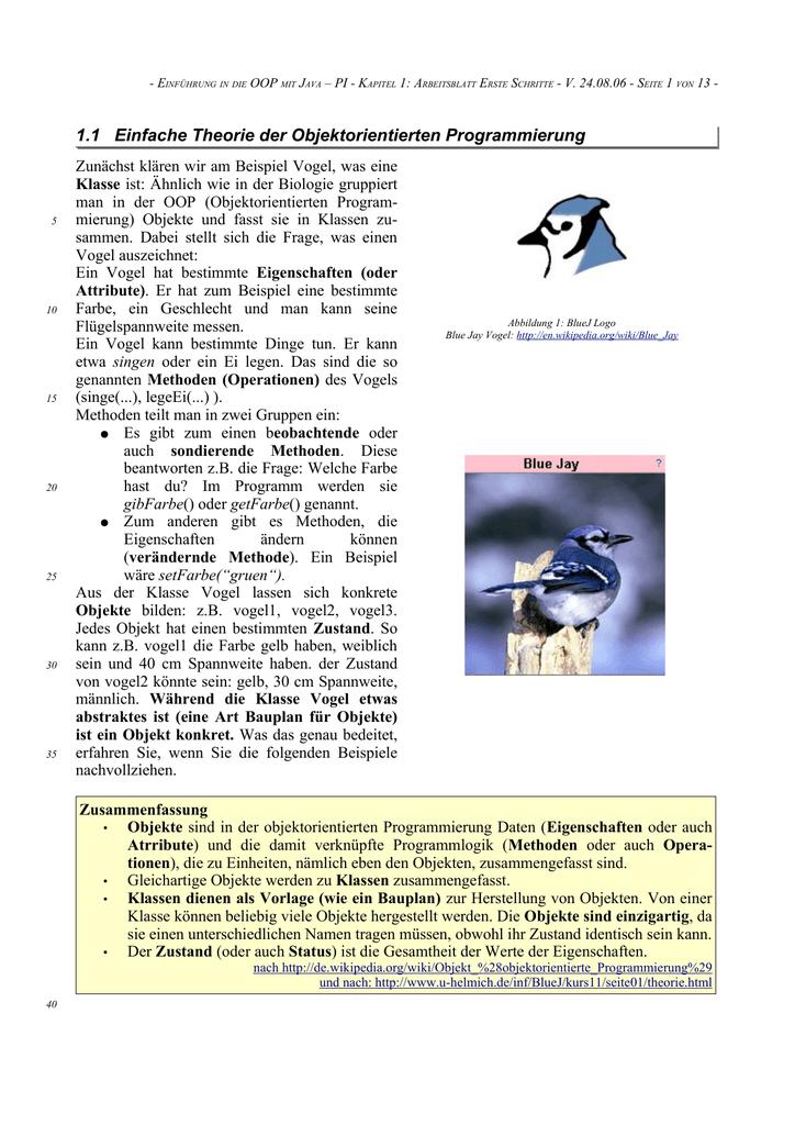 1.1 Einfache Theorie der Objektorientierten Programmierung
