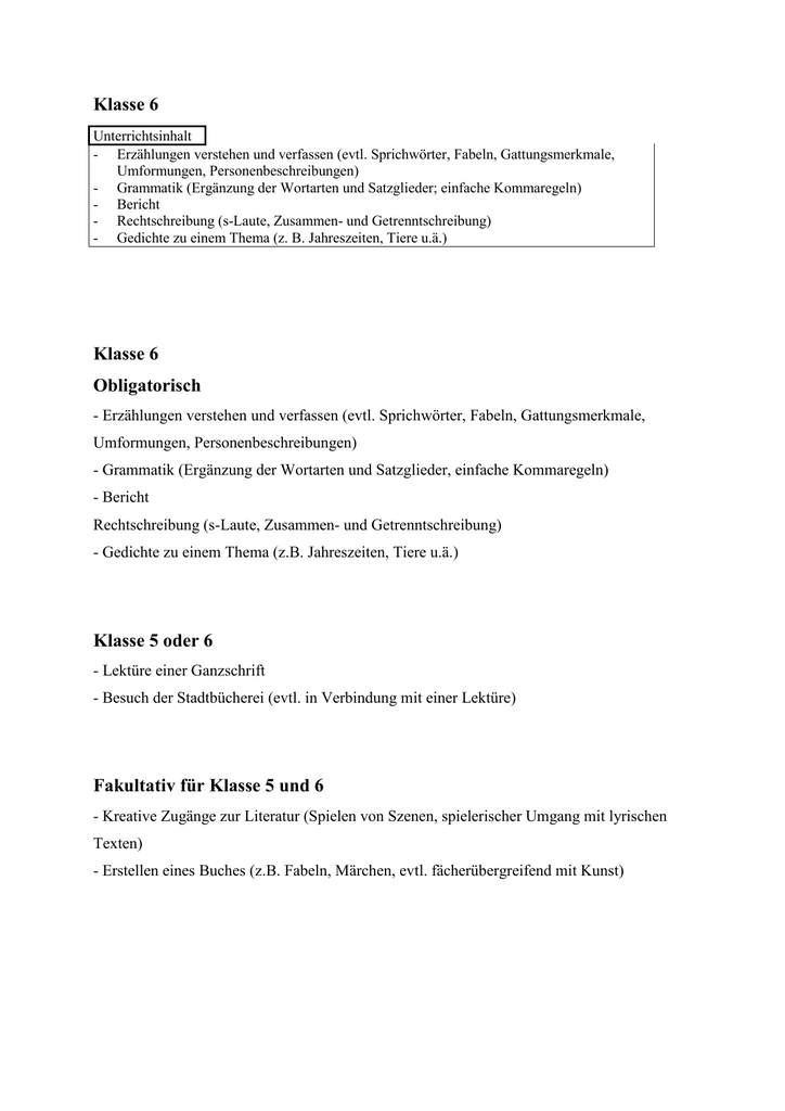 Klasse 6 Klasse 6 Obligatorisch Klasse 5 Oder 6 Fakultativ Für
