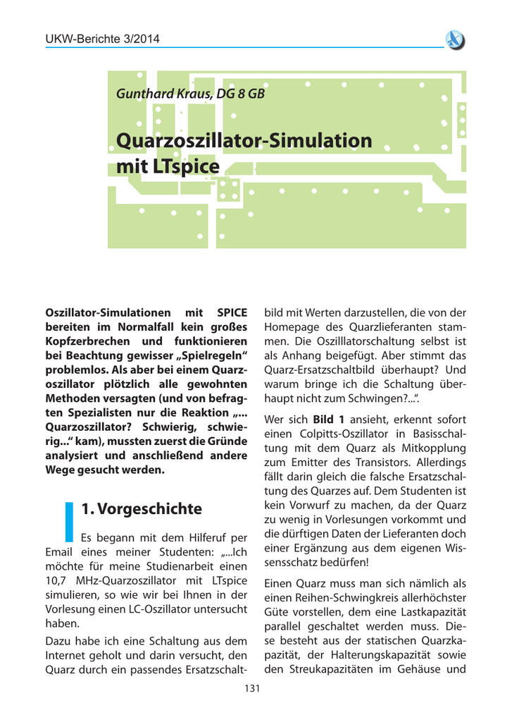 Quarzoszillator-Simulation mit LTspice