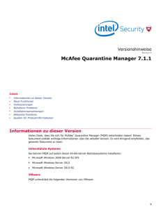 McAfee Quarantine Manager 7.1.1 Versionshinweise