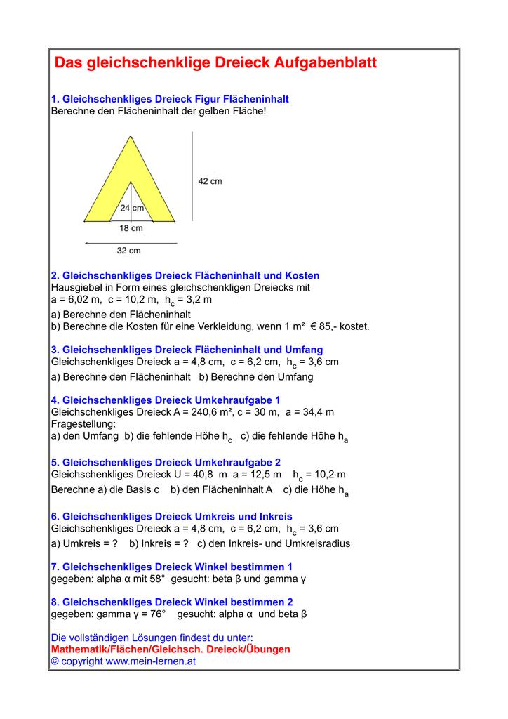 Ausgezeichnet Gleichschenkliges Dreieck Winkel Arbeitsblatt Ideen ...