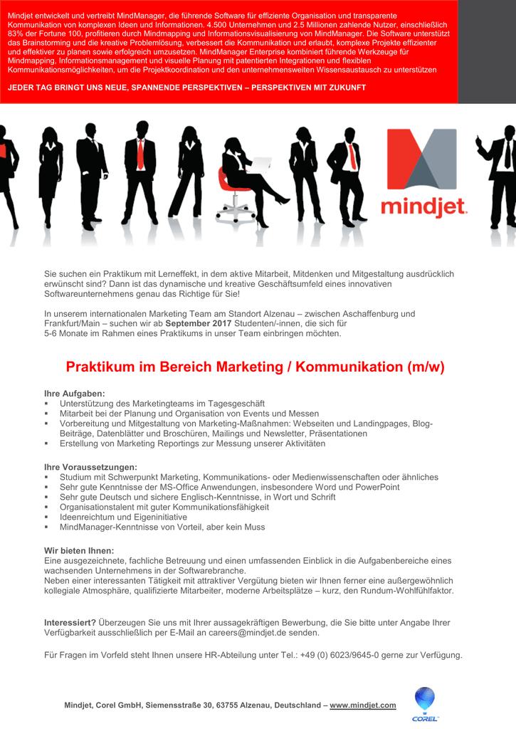Praktikum im Bereich Marketing / Kommunikation (m/w)