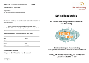 Ethical leadership - Advanced Studies in Applied Ethics