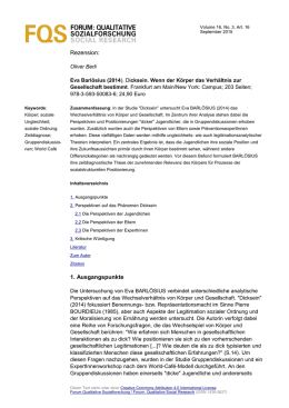 Rezension: 1. Ausgangspunkte - Forum: Qualitative Social Research