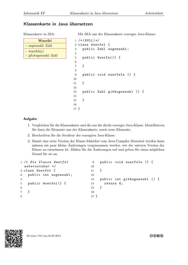 Klassenkarte in Java übersetzen