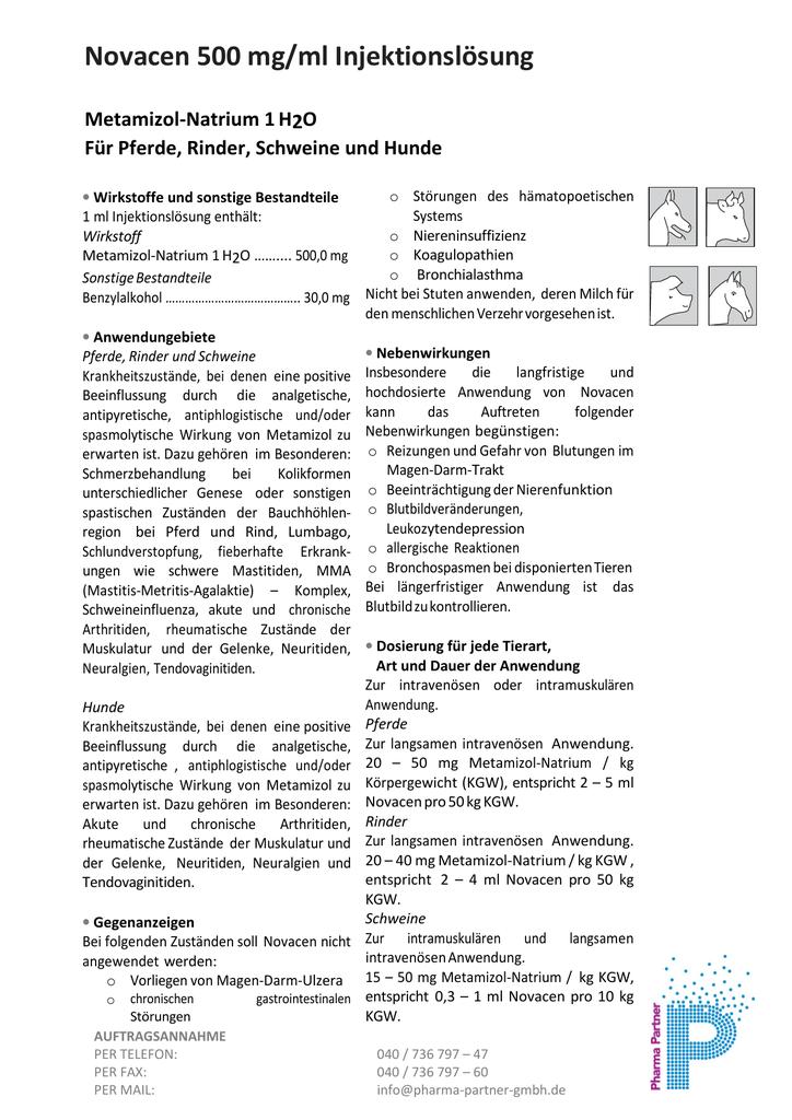 Novacen 500 mg/ml Injektionslösung