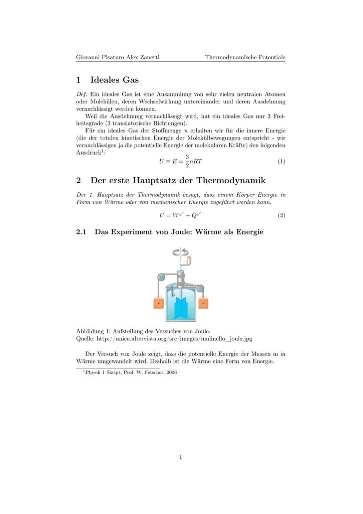 1 Ideales Gas 2 Der Erste Hauptsatz Thermodynamik