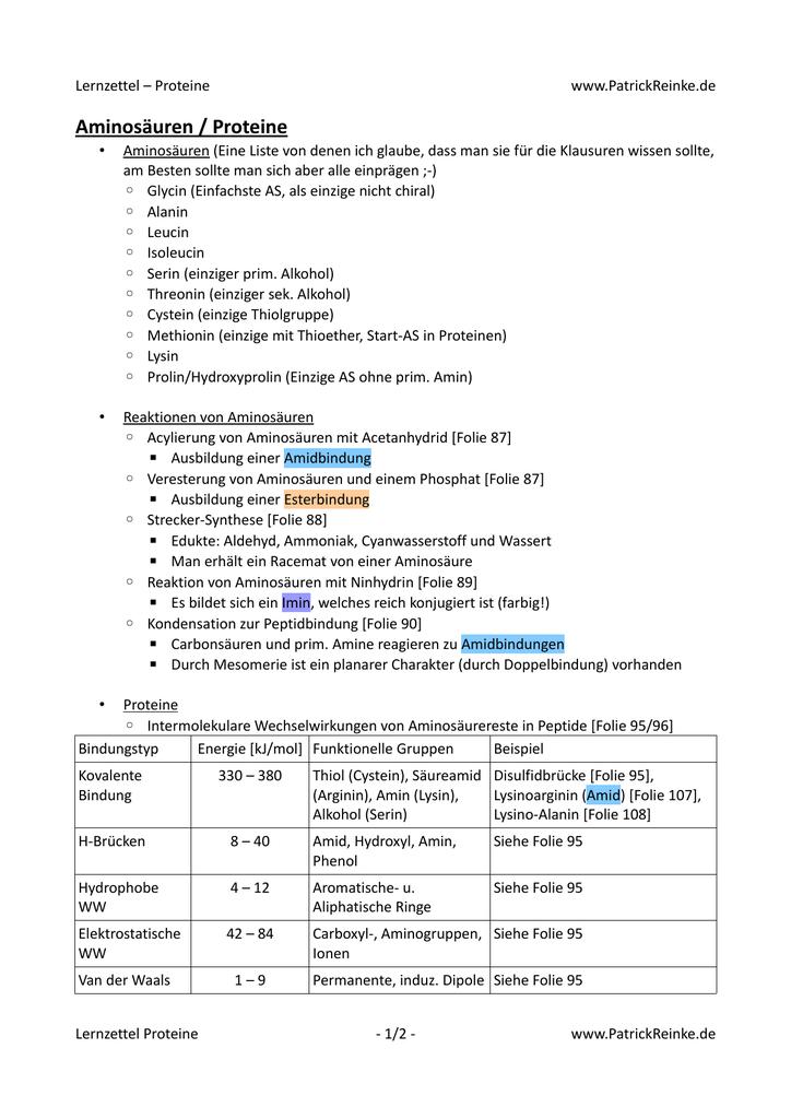 Aminosäuren liste