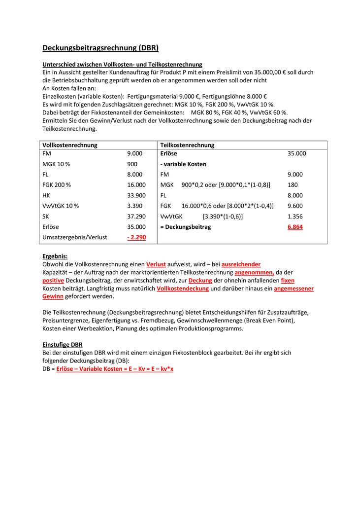 Pdf Dokument Losung Deckungsbeitragsrechnung